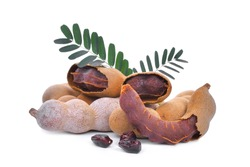 tamarind with leaves, tropical fruit isolated on white background