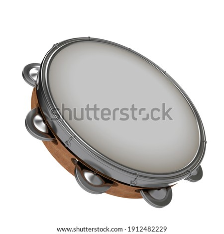Tambourine 3d for carnival and Folia, Brasilian instrument in perspective camera Stock photo ©