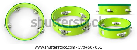 Tambourine toy is musical instrument small metal disks in slots around edge, played by being shaken or hit with hand. Isolated white background 3d illustration different angle view realistic set Stock photo ©