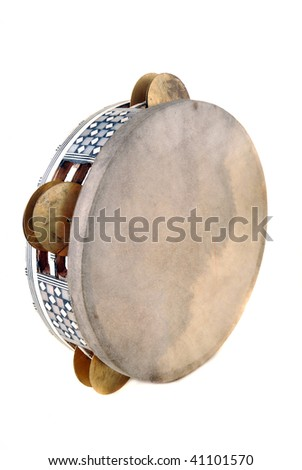 Tambourine with the tense skin and the inlaid rim with sonorous plates