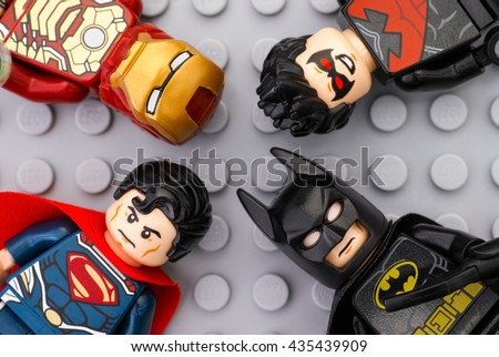 stock photo tambov russian federation may four lego super heroes iron man batman superman 435439909 - Каталог — Фотообои «Для детской»