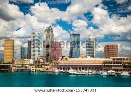 Tampa Florida skyline with sun and clouds Foto stock ©