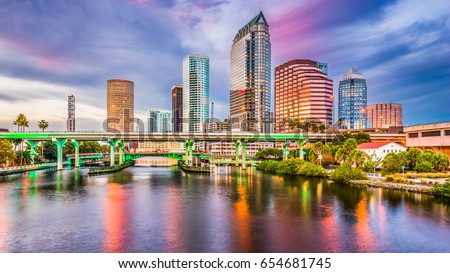 Tampa, Florida, USA downtown skyline on the Hillsborough River. Foto stock ©