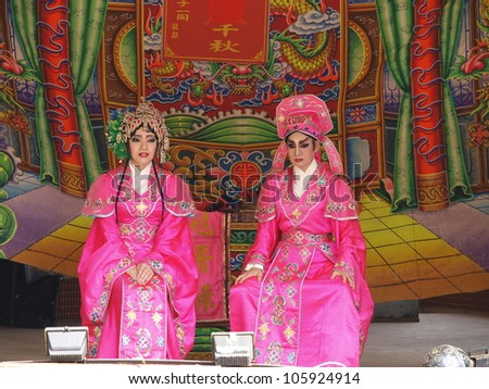 TAMSUI,TAIWAN- JUNE 24:Taiwanese Opera in The Culture and Art Festival of Tamsui Shing Shuei Yan on June 24,2012 in Danshui,Taipei,Taiwan. The fair held annually for honor of the Ching-Shui Master.