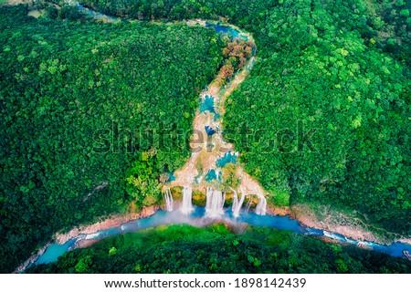 Tamul Waterfall, Huasteca Potosina,  San Luis Potosi , Mexico Stockfoto ©