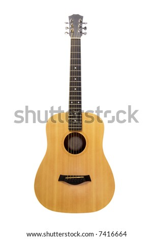 Tan acoustic guitar isolated on white background
