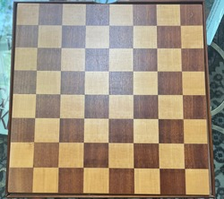 Tan and brown Checker and chess board