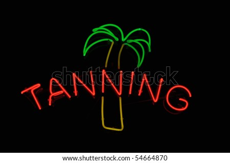Tan Neon Light Sign with Palm Tree