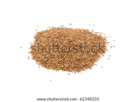 Tan Sesame Seeds Isolated on White Background