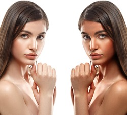 Tan woman before after skin portrait