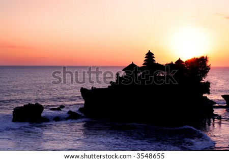 Tanah Lot Sunset ~ Hindu temple of Tanah Lot, off the coast of Bali, Indonesia, at sunset.