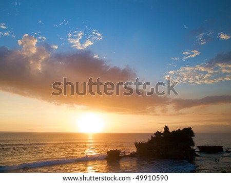 Tanah Lot Temple in Bali at sunset