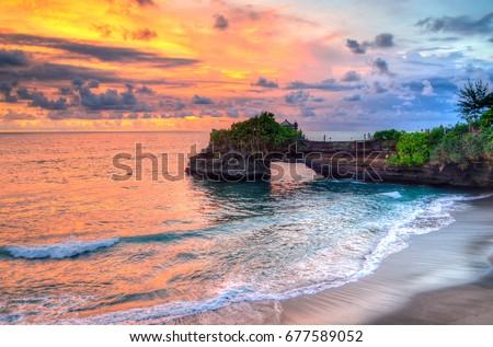 Tanah Lot Temple on Sea in Bali Island Indonesia  #677589052
