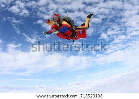 Tandem jump. Instructor and passenger.