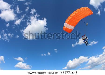tandem parachuting. canopy in...