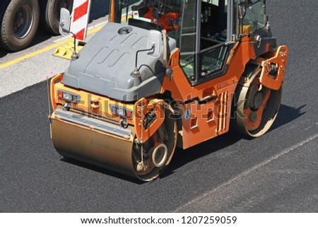 tandem roller on construction site