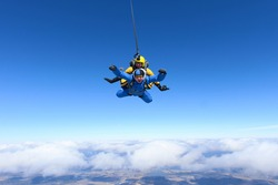 Tandem skydiving. Above the Earth.