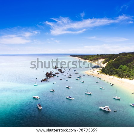 Tangalooma Wrecks Landscape, Queensland, Australia. Beautiful scenic overhead view of ships moored in crystal clear waters off the coast at Tangalooma Wrecks
