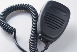 Tangent of radio station on white background. Walkie-talkie or radio transmitter.