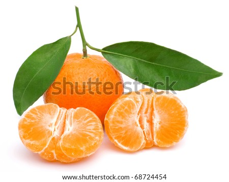 Tangerine isolated on white background, tasty and healthy fruit