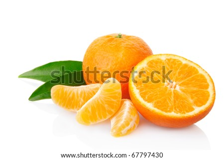 Tangerine isolated on white, clipping path included