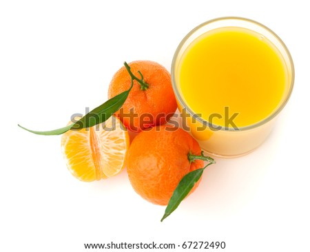 Tangerine juice. Above view, isolated on white