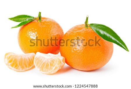 Tangerine or clementine with green leaf and slices isolated on white background #1224547888