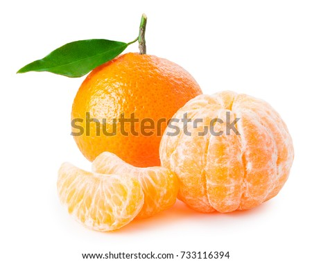 Tangerine or clementine with green leaf and slices isolated on white background