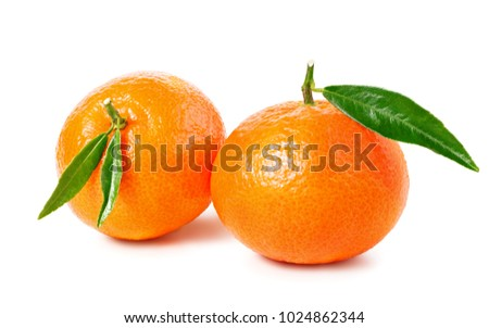Tangerine or clementine with green leaf isolated on white background