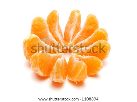 Tangerine slices isolated on white