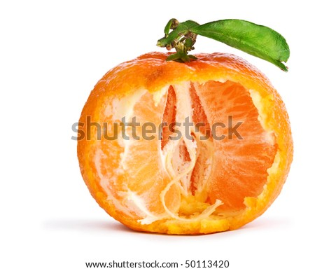 tangerine with leaf isolated - stock photo