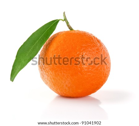 Tangerine with Leaf. Mandarin Isolated on White