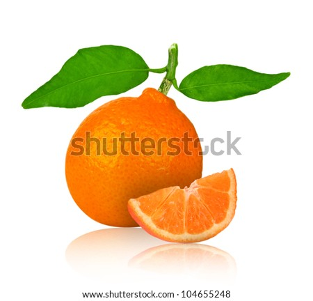 Tangerine with slice isolated on white