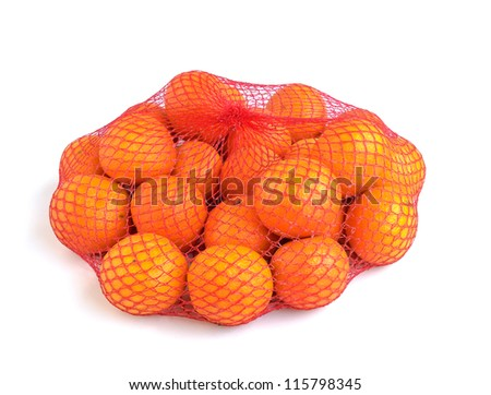 Tangerines in a bag isolated on a white background.