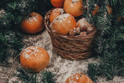 tangerines in a basket for the new year's table. foodphotography.