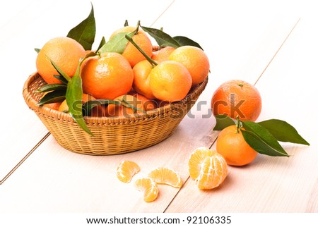 tangerines in basket on the kitchen's wooden table