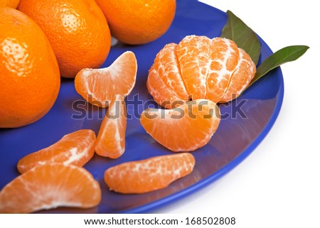 Tangerines on the blue dish