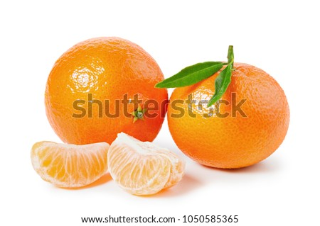 Tangerines or clementines with green leaf and slices isolated on white background #1050585365