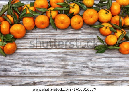 Tangerines (oranges, clementines) with green leaves over wooden background with copy space #1418816579