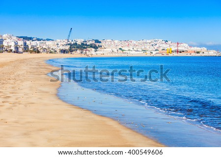 Tangier city beach in Tangier, Morocco. Tangier is a major city in northern Morocco. Tangier located on the North African coast at the western entrance to the Strait of Gibraltar.