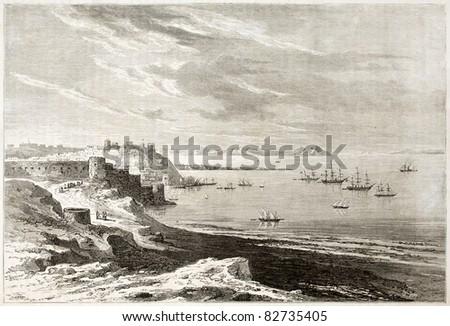 Tangier old view, Morocco.  Created by De Berard, published on Le Tour du Monde, Paris, 1860