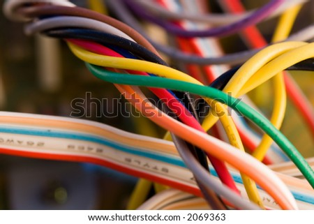 Tangle of wires inside some electronics equipment