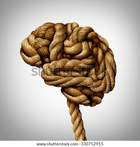 Tangled brain mental health concept as a rope twisted into a human thinking organ as a medical neurological symbol for mind function or diseases as dementia or autism.