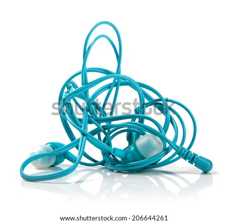 tangled earphones isolated on white