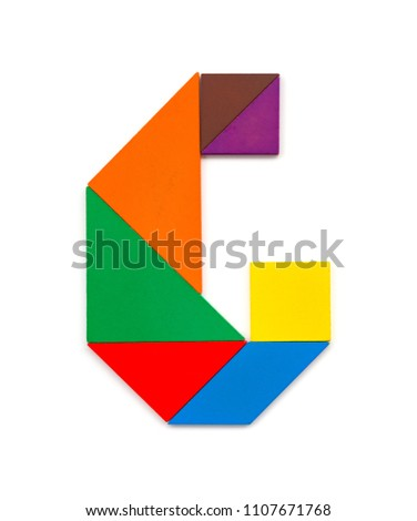tangram shaped like a letter G on white background #1107671768