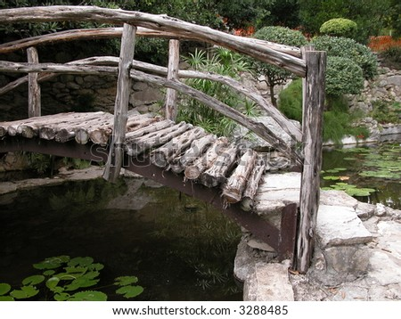 Taniguchi Japanese garden in Zilker park Austin Texas - stock photo