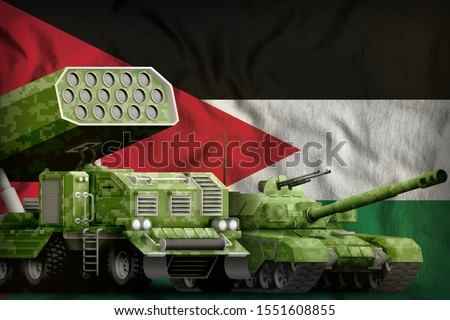 tank and missile launcher with summer pixel camouflage on the Jordan flag background. Jordan heavy military armored vehicles concept. 3d Illustration