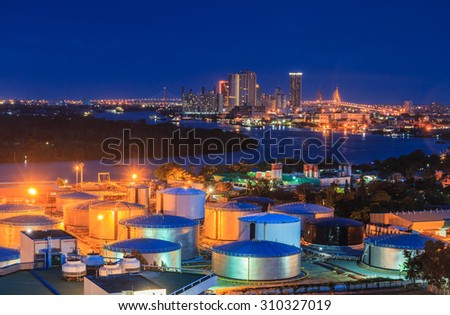 Tank farm oil tanks in Bangkok City Thailand