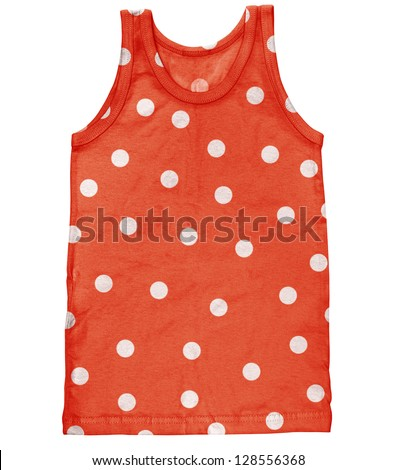 Tank for men. Funny male polka dot undershirt isolated on white background - stock photo