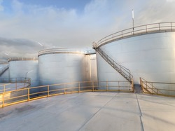 Tank oil storage industrial, factory industry palm oil. Oil large exports Asia